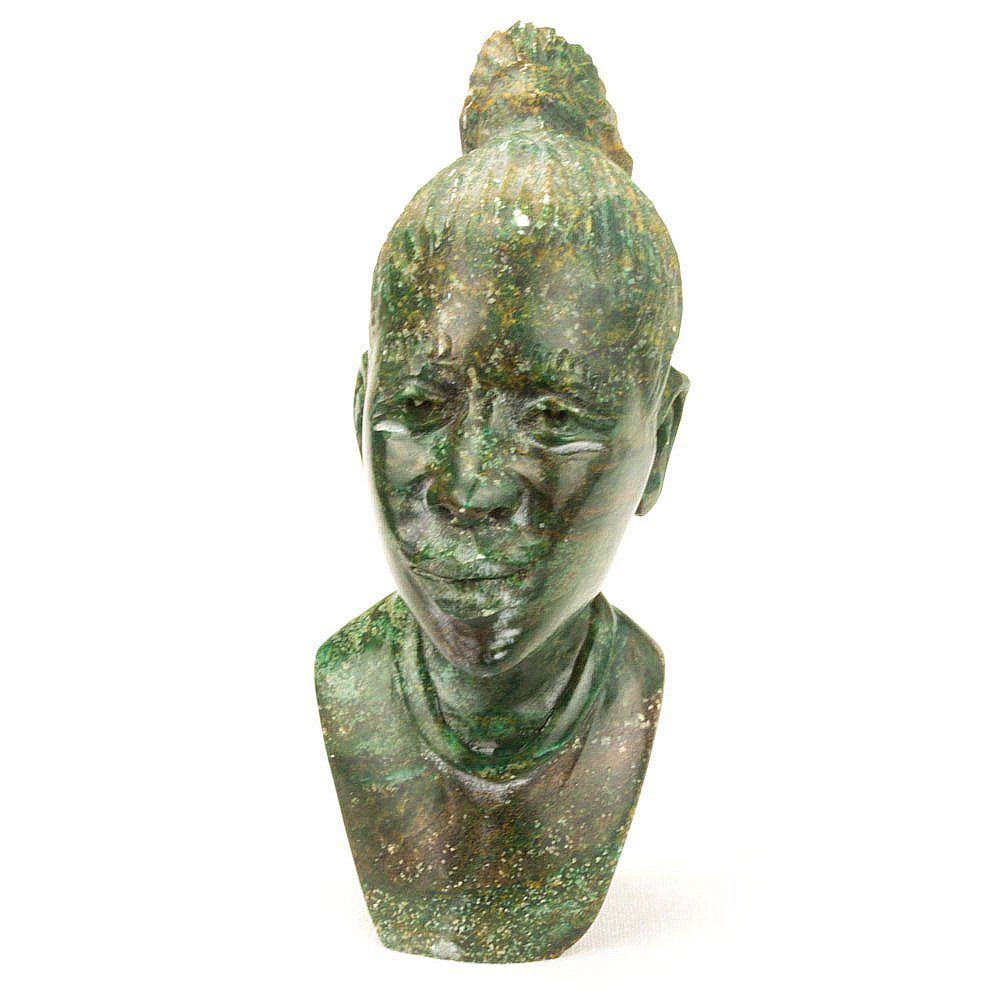 African lady sculpture head bust hand carved from