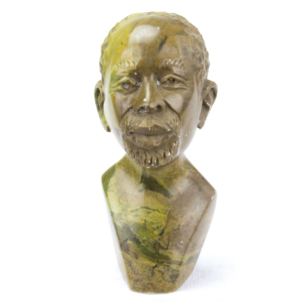 African man head bust hand carved from stone cm