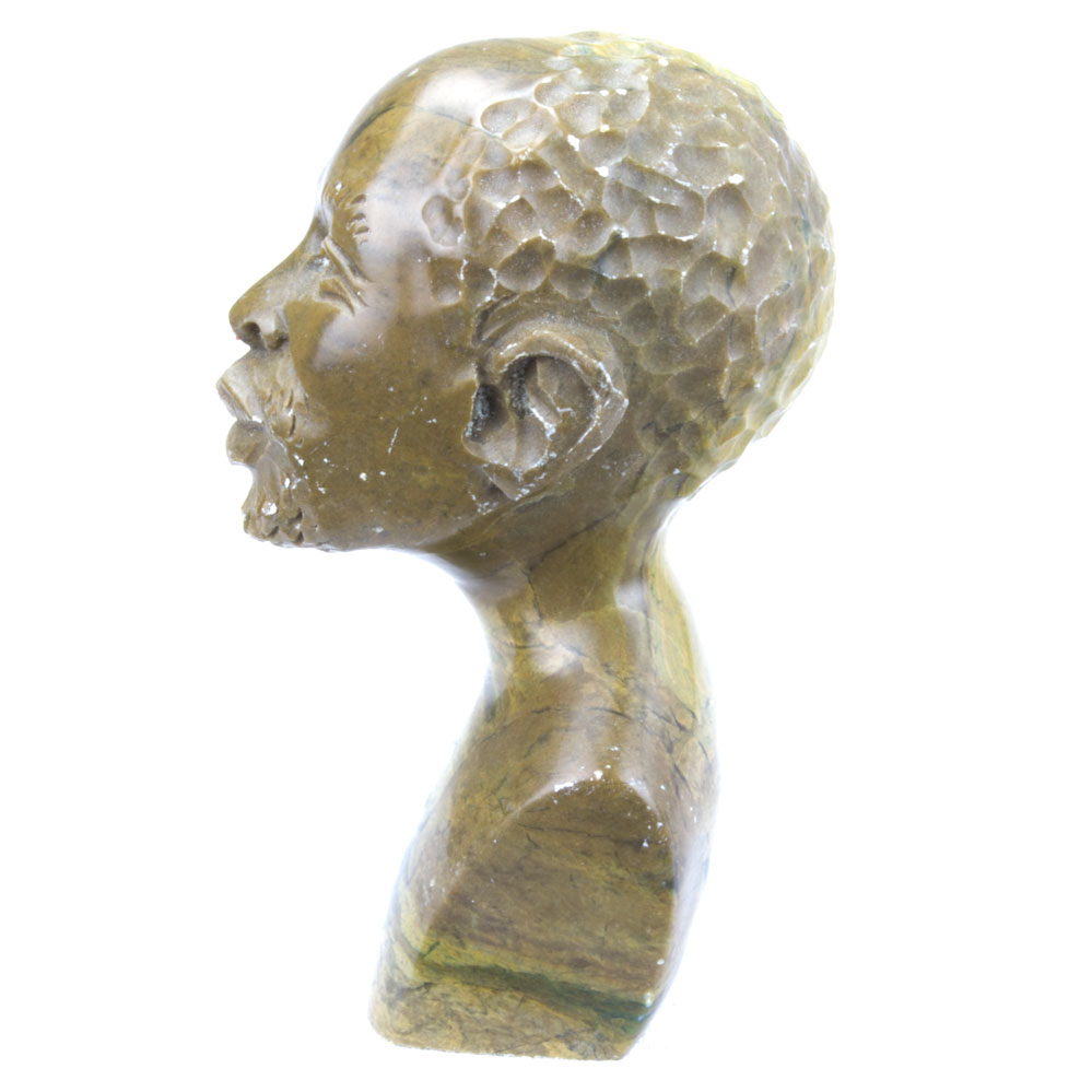 African man head bust hand carved from stone cm tall
