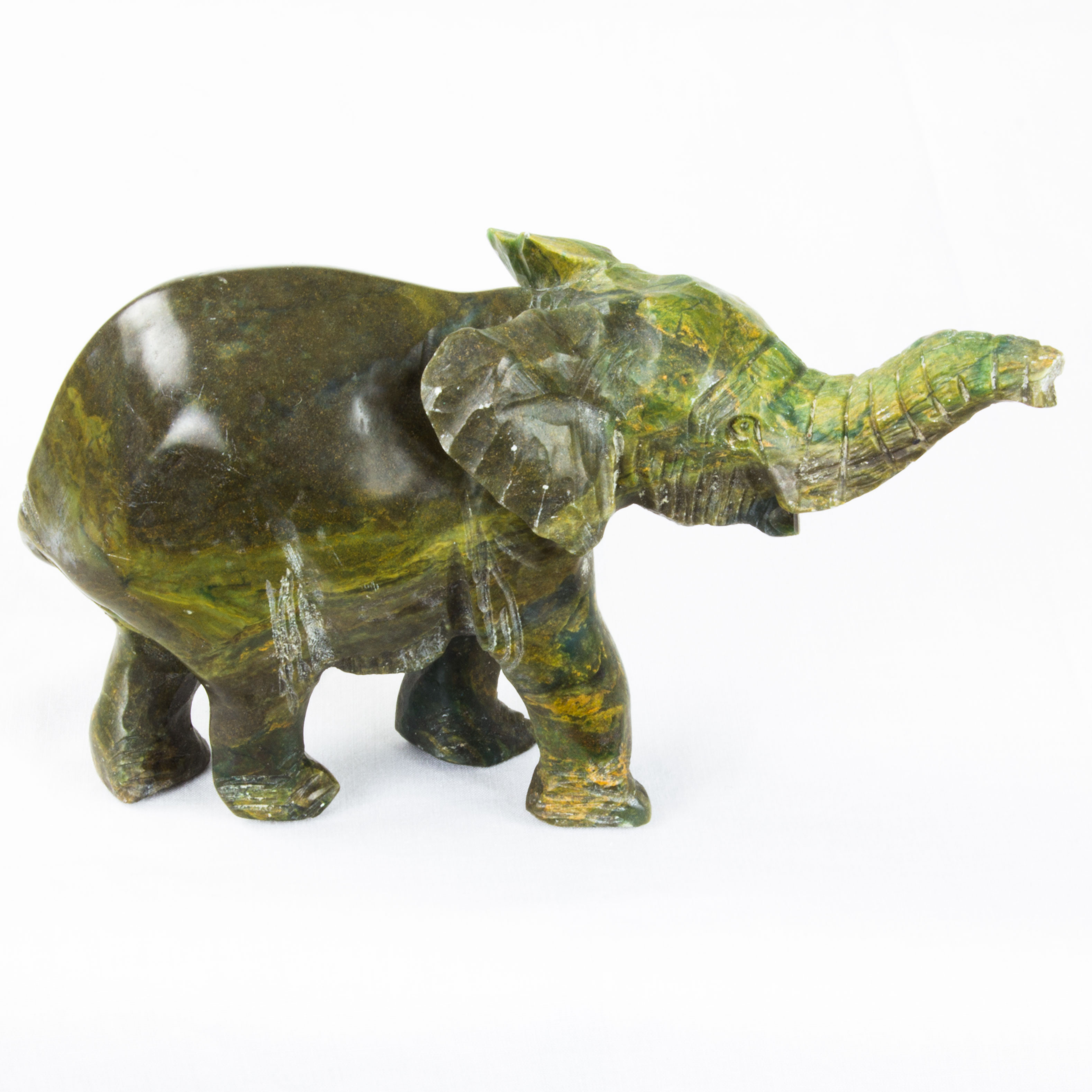 Hand carved african elephant stone sculpture dark green